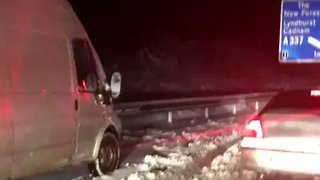 Motorists Stranded on Snow-Covered A31
