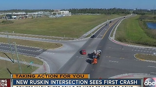 New Ruskin intersection sees first crash - Video