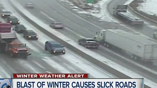 Blast of winter causes slick roads - Video