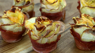 How to make potato bacon roses  - Video