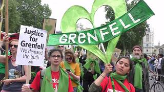 Hundreds march past Downing Street to demand justice for Grenfell victims
