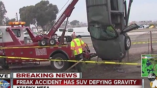 Freak accident has SUV defying gravity - Video