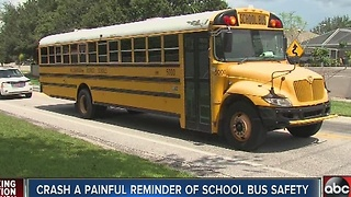 Crash a painful reminder of school bus safety - Video