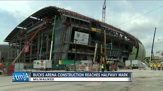 Bucks arena construction reaches halfway mark, hiring goals exceeded - Video