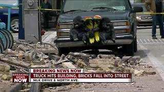 Bricks fall in MKE - Video