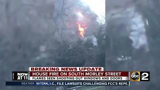 Flames shoot out of house on South Morley Street - Video