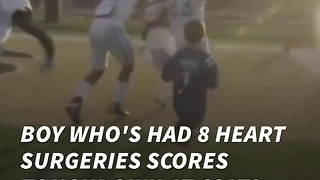 Boy Who's Had 8 Heart Surgeries Scores Touchdown At Colts Practice - Video