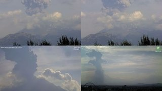 El Popo Volcano Sends Ashcloud Rising over Mexico - Video