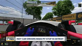 Indy car drivers make pit stop in Detroit - Video