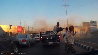 Dash cam captures dramatic truck crash - Video