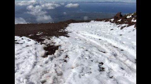 Snow Lingers Atop Haleakala National Park in Hawaii