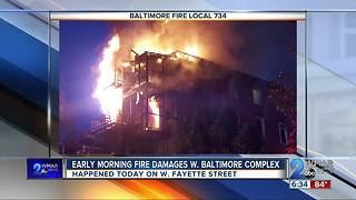 Early Morning Fire Damages W. Baltimore Complex - Video