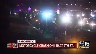 Motorcycle crash on I-10 near 7th Street - Video