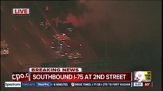 Fiery crash snarls Interstate 75 southbound into Downtown - Video