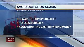 Tips to identifiy scams while donating to Harvey - Video