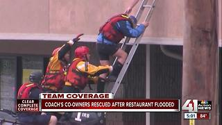 Co-owners of Coach's rescued from flooded restaurant - Video