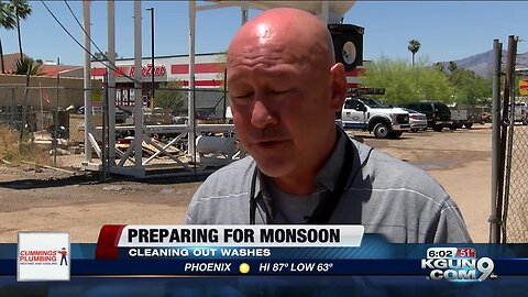 Tucson Department of Transportation crews work to prepare for monsoon