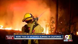 More than 20 wildfires burning in California - Video