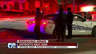 Detroit police officer shot during ongoing barricaded gunman situations - Video