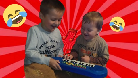 Kids overexcited playing piano toy
