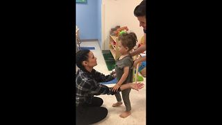 Union J's singer's son takes first steps after second brain surgery