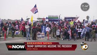 Trump supporters welcome the president - Video