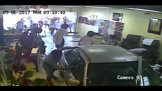 Surveillance video shows car crashing into Lemon Grove nail salon - Video