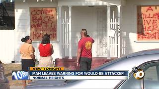 Man leaves warning for would-be attacker - Video