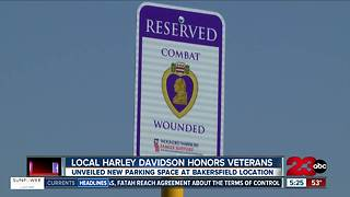 Bakersfield Harley-Davidson dedicates parking space to purple heart, combat wounded veterans - Video