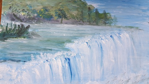 How to Paint Waterfall, Beginners Demo, Acrylic Painting for Kids
