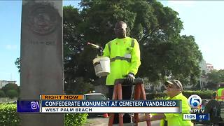 Spray paint removed from vandalized Confederate monument in West Palm Beach - Video