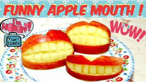 How to Make Funny Mouth Apple ! Super Easy Cutting!