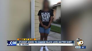Student asked to change Black Lives Matter shirt