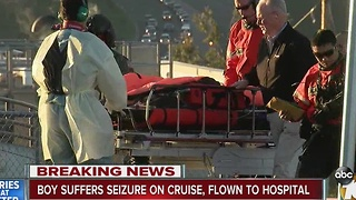 Boy suffers seizure on cruise, flown to local hospital - Video
