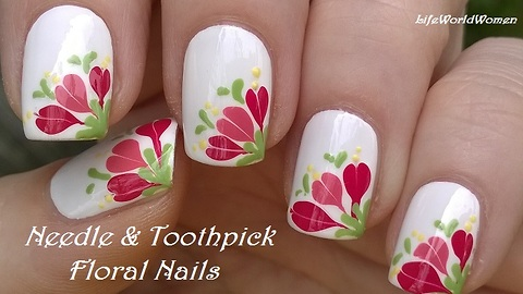 White Needle & Toothpick Floral Nail Art
