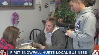 First snowfall hurts local business - Video