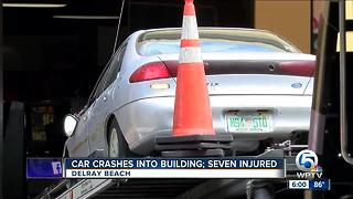 Car crashes into building in Delray Beach, 7 injured - Video