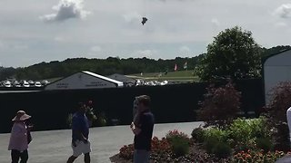 PenFed Blimp Catches Fire and Crashes at US Open in Wisconsin - Video