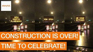 Edmonton Road Sign Celebrates End of Construction - Video