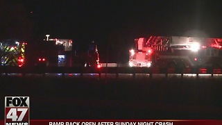Ramp open after single car crash on Sunday - Video