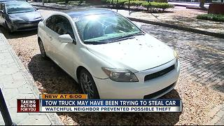 Tampa victim says attempted car thief was a tow truck driver