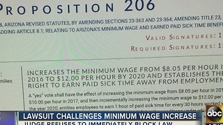 Arizona judge refuses to immediately block minimum wage increase - Video
