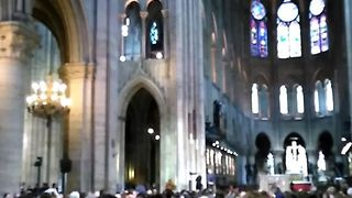 Priest Leads Prayer Inside Notre Dame Cathedral after Attack Outside - Video