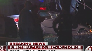 Man tries to run over KCK police officer - Video
