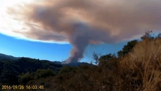 Smoke Rises From Loma Fire as Sun Sets - Video