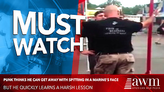 Young Punk Thinks He Can Get Away With Spitting In A Marine's Face, Learns Harsh Lesson - Video