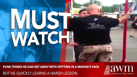 Young Punk Thinks He Can Get Away With Spitting In A Marine's Face, Learns Harsh Lesson