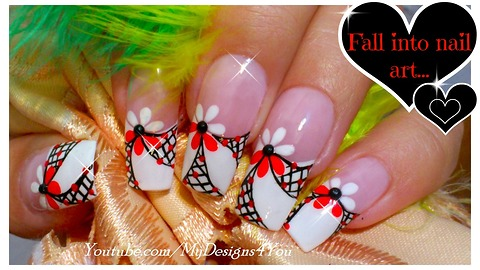 Floral nail art for long nails