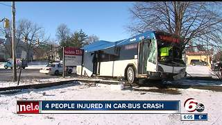 4 injured in IndyGo bus, car crash at State and New York streets - Video