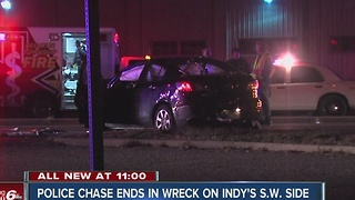 Police chase ends in crash on Indy's southwest side - Video